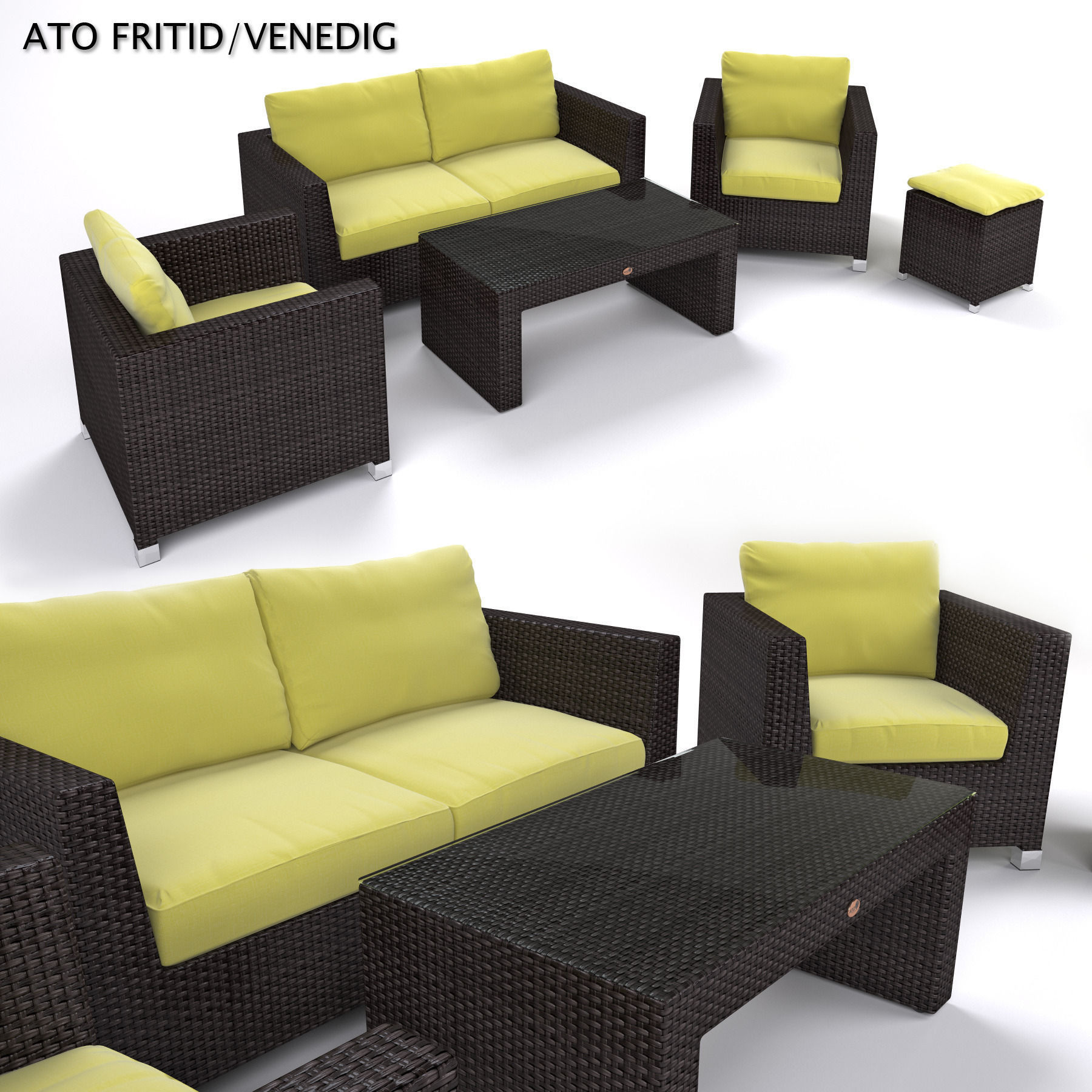 Garden furniture synthetic rattan set 3d model for Outdoor furniture 3d max