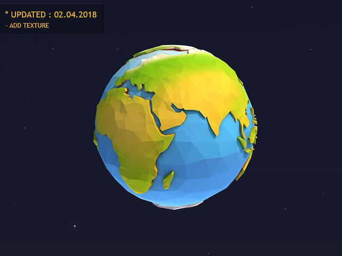 low poly earth 3d model low-poly obj mtl 3ds fbx c4d unitypackage prefab 1