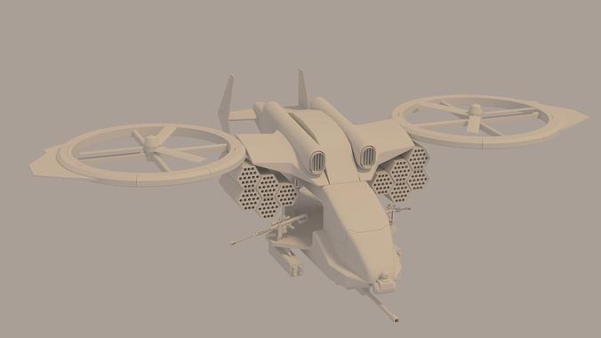 gunship 3d model obj fbx stl blend dae mtl 1