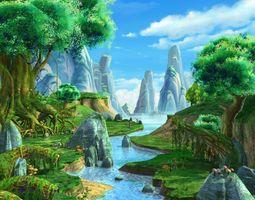 3D model Cartoon River Scene