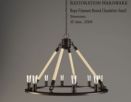 3d model restoration hardware  rope filament round chandelier small