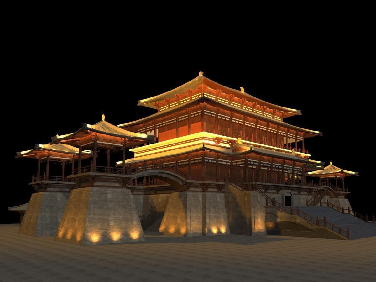 ... china temple lighting 3d model max 3ds 2 ... & temple 3D China Temple lighting | CGTrader azcodes.com
