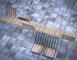 3D model bench with parking space for bicycles