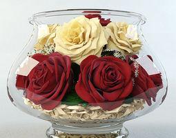 3d model roses in the aquarium
