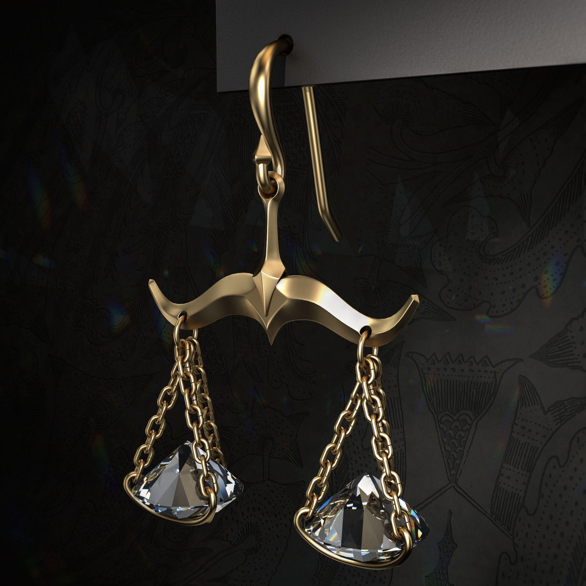 libra earrings 3d model 3d printable  obj  stl