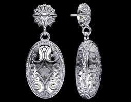 Bali Inspired Silver Earrings 3D Model