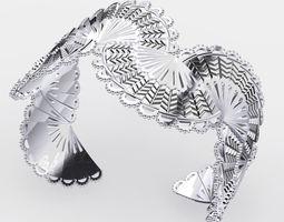 Silver Fan Cuff 3D Model