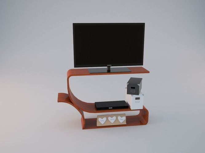 Curvy TV Stand3D model