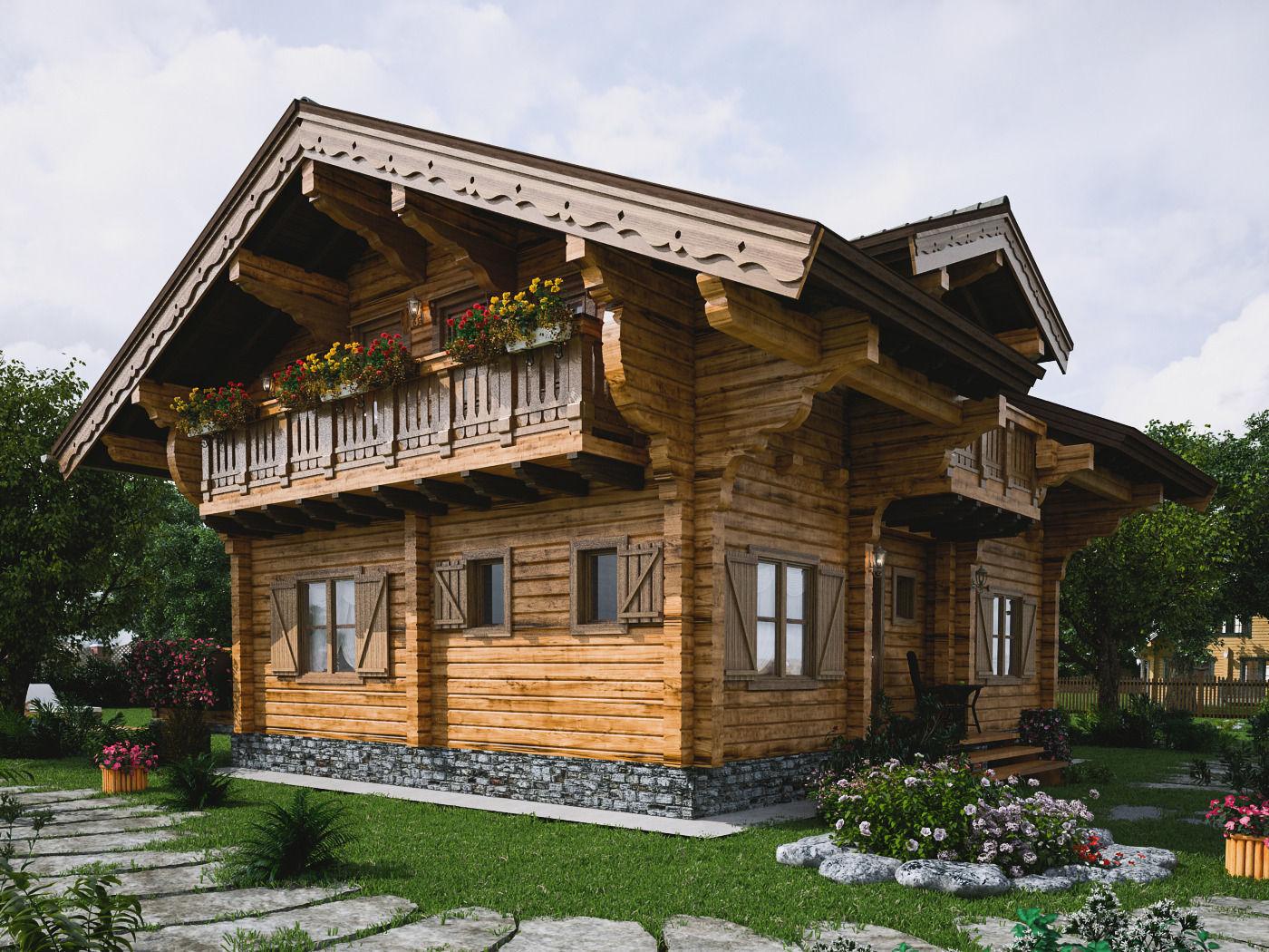 chalet terrace 3d model max fbx