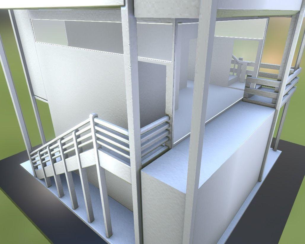 3D model Tower House Design Blender Game Engine VR AR low