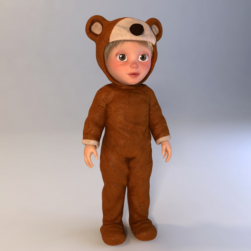 Luigi, little boy in a bear outfit 3D Model .max .obj .3ds .fbx