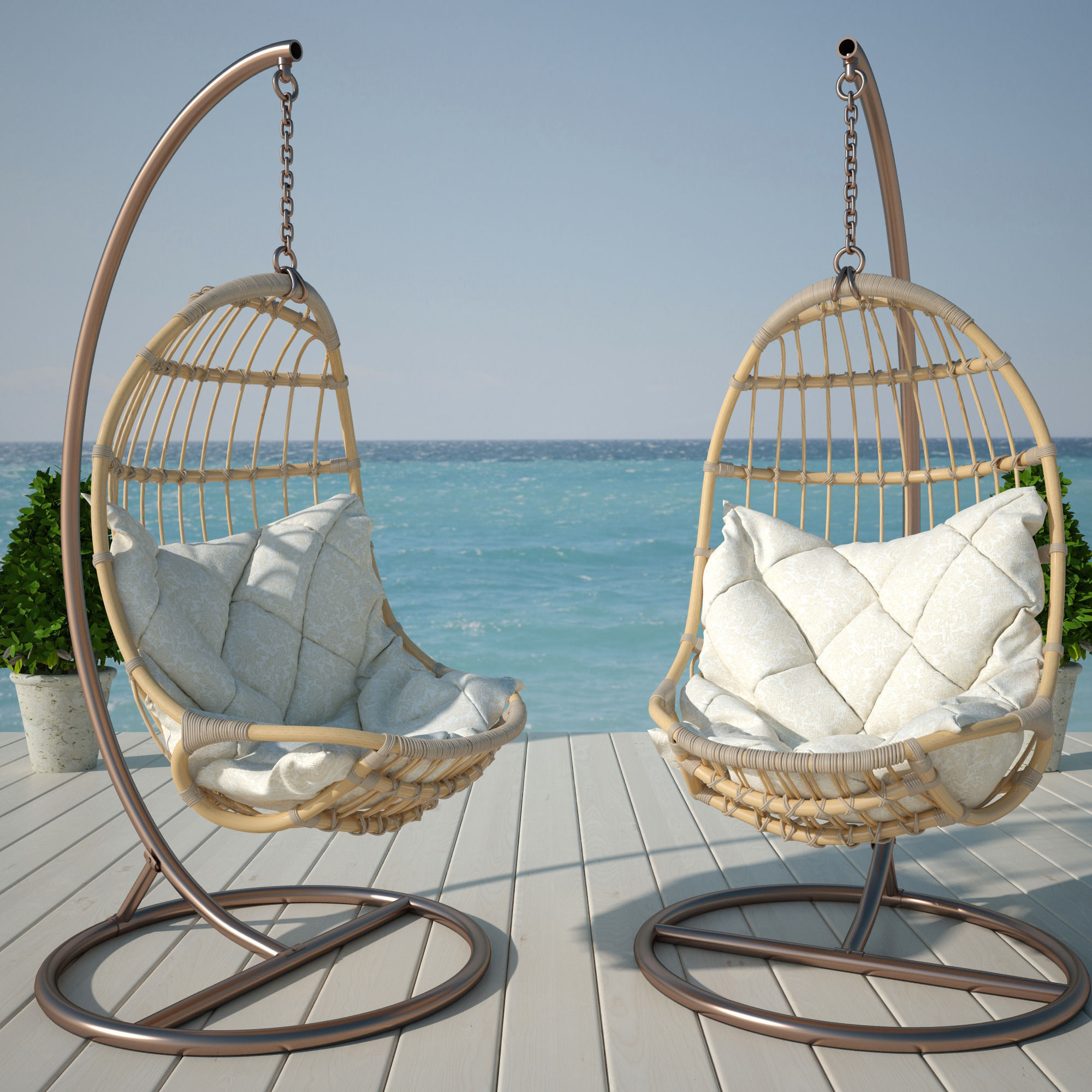 Hanging Chair 3d Model Rigged Max Obj Cgtrader Com
