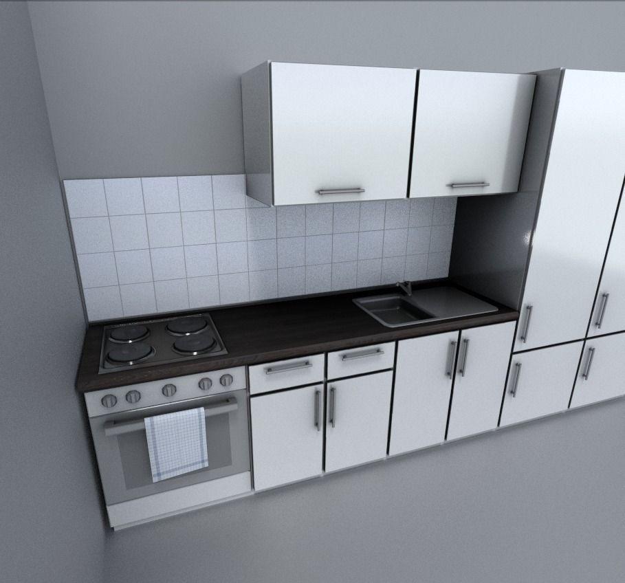 3d model kitchen module vr ar low poly obj fbx dxf for Model kitchen