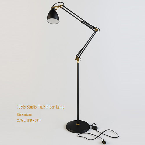 restoration hardware 1930s studio task floor lamp  3d model max obj mtl 3ds 1
