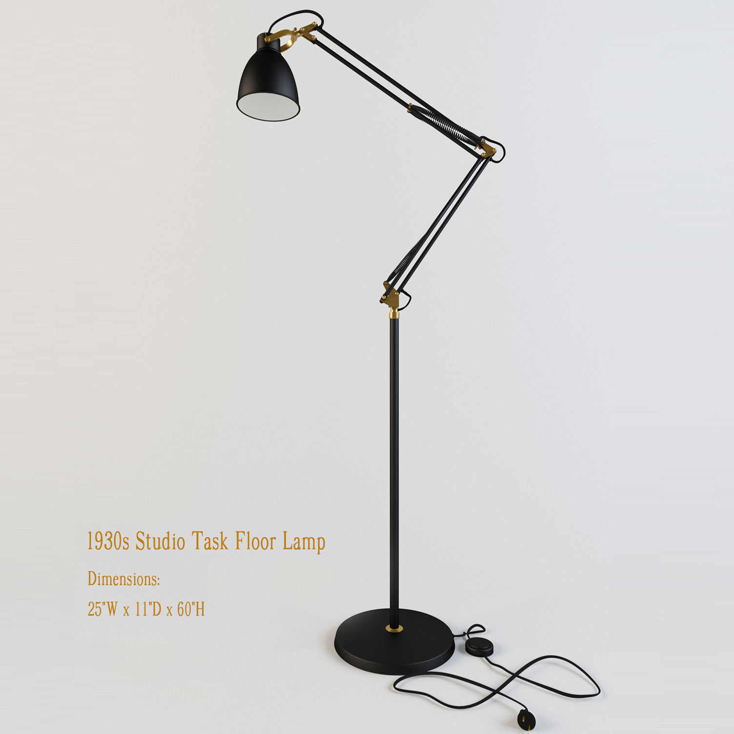 Restoration Hardware 1930s Studio Task Floor Lamp 3D model MAX OBJ ...