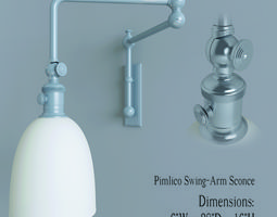 3d model restoration hardware pimlico swing  arm sconce