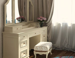 Vanity Cosmetic Table With Mirror 3D
