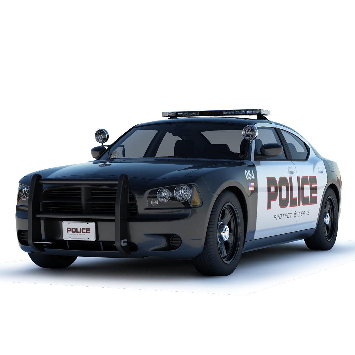 Dodge Charger Police Car 3D Model .max .obj .3ds .fbx