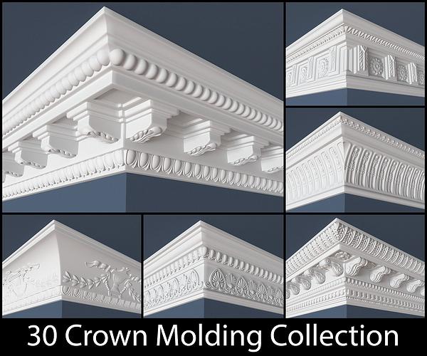 30 crown molding collection  3d model obj mtl 1