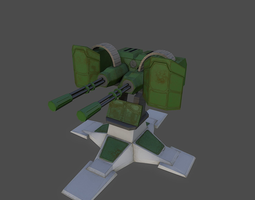 3d model VR / AR ready gatling gun PBR