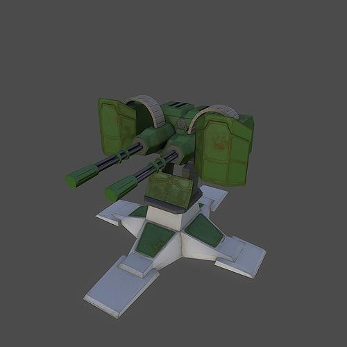 gatling gun 3d model low-poly obj fbx mtl 1
