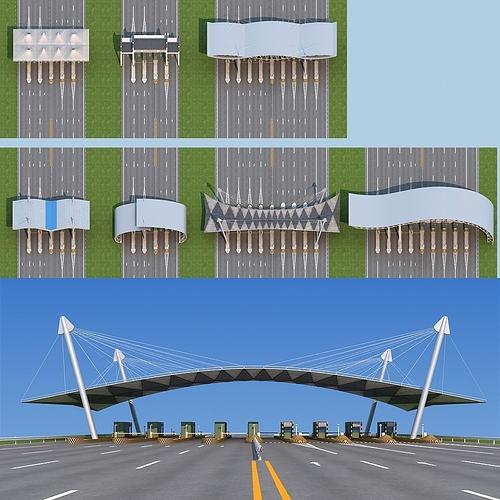 highway toll station 3d model max obj fbx mtl 1