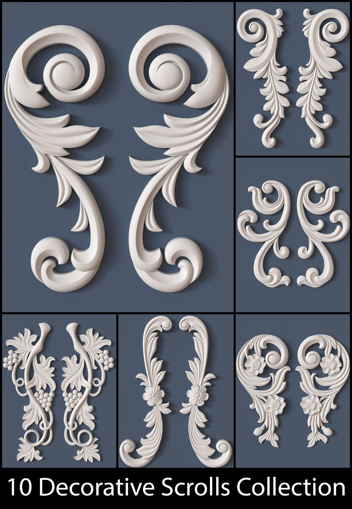 10 decorative scrolls collection 3d model max obj fbx ma