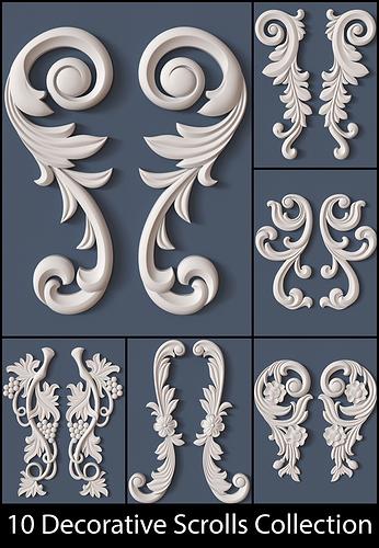 10 decorative scrolls collection  3d model obj 1