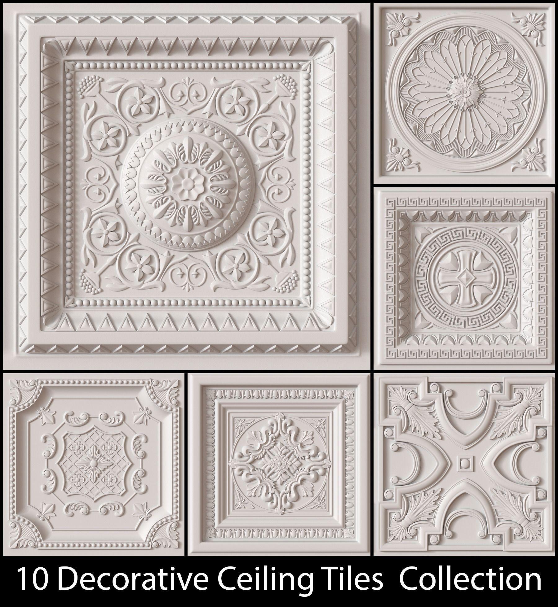 10 Decorative Ceiling Tile Collection 3d Model Obj 1