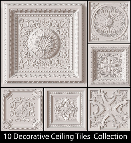 10 decorative ceiling tile collection 3d model obj mtl 1