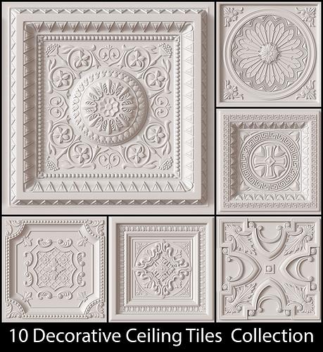 10 decorative ceiling tile collection 3d model