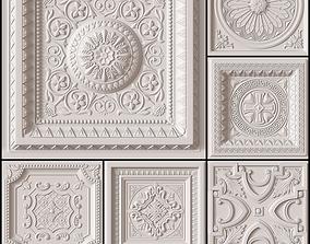 10 Decorative Ceiling Tile Collection classical 3D model
