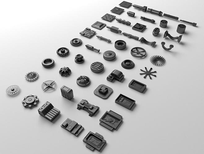 technical parts collection 2 3d model obj mtl 3ds fbx blend 1