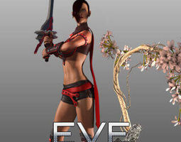 animated 3d warrior game character modeling and rigging for lady
