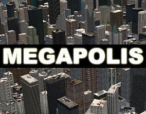 MEGAPOLIS - 3d city model downtown animated