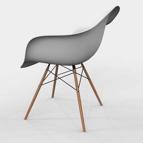 armchair vitra daw eames plastic 3d model max. Black Bedroom Furniture Sets. Home Design Ideas