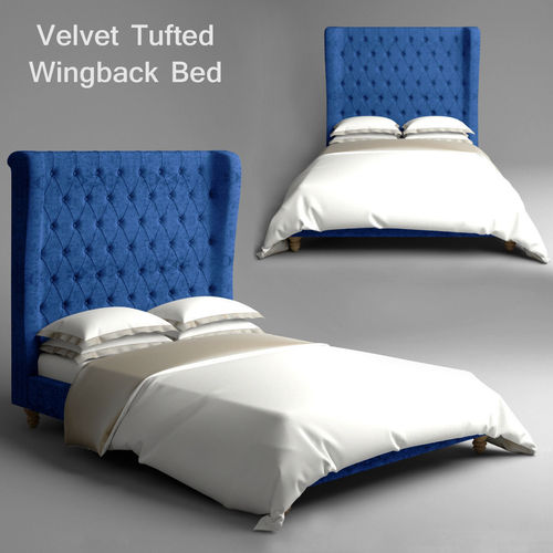 Velvet Tufted Wingback Bed3D model