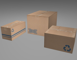 3D model Cardboard Boxes Low Poly