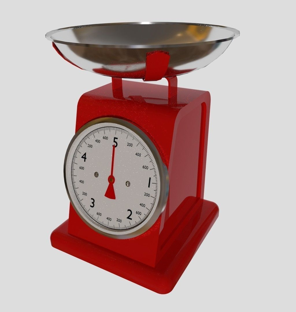 Red Kitchen Scale 3D Model .dae