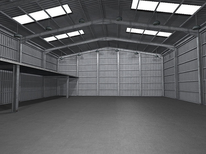 3d asset industrial warehouse low poly cgtrader for Door 3d warehouse