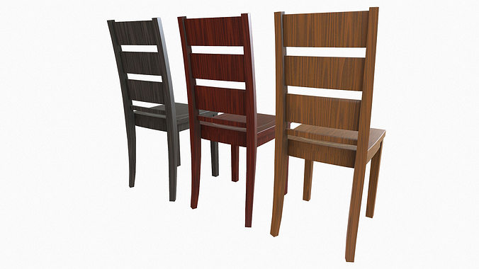 simple wooden chair. Simple Wooden Dining Chair 3d Model Low-poly Obj Fbx 3