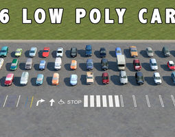 46 LOW POLY CARS 3D Model