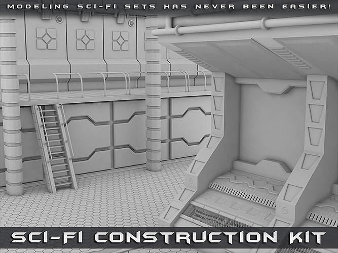 sci-fi construction kit 3d model obj mtl fbx ma mb pdf 1