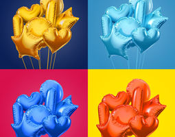 colorful foil balloons 3d model