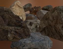 VR / AR ready PBR rock pack 1 3d model