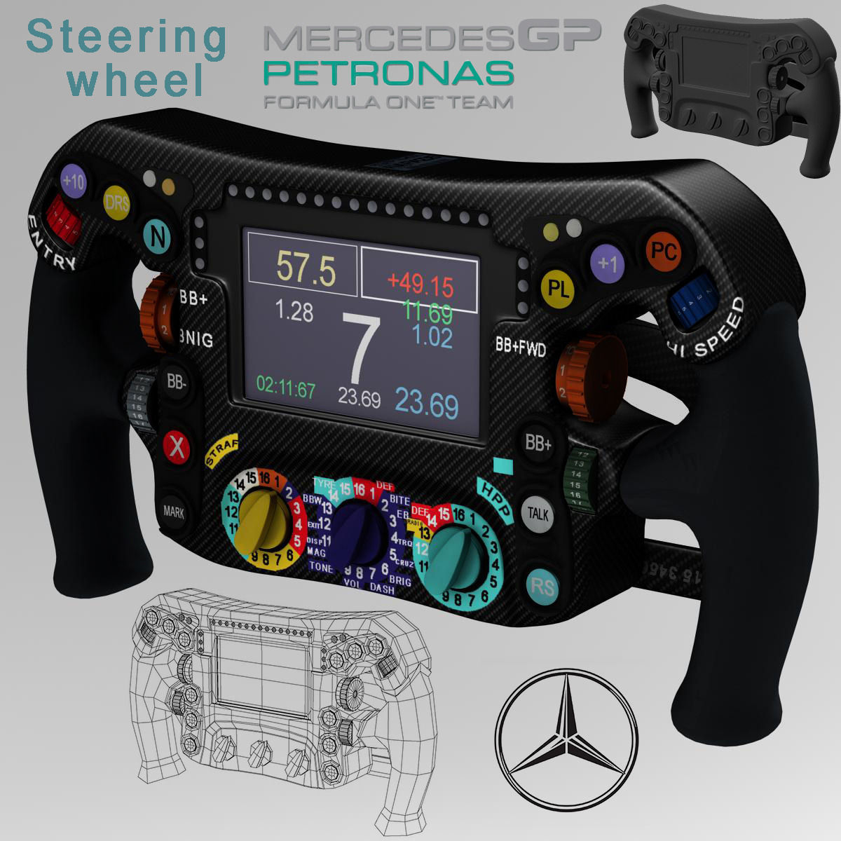 mercedes w06 steering wheel 3d model | cgtrader