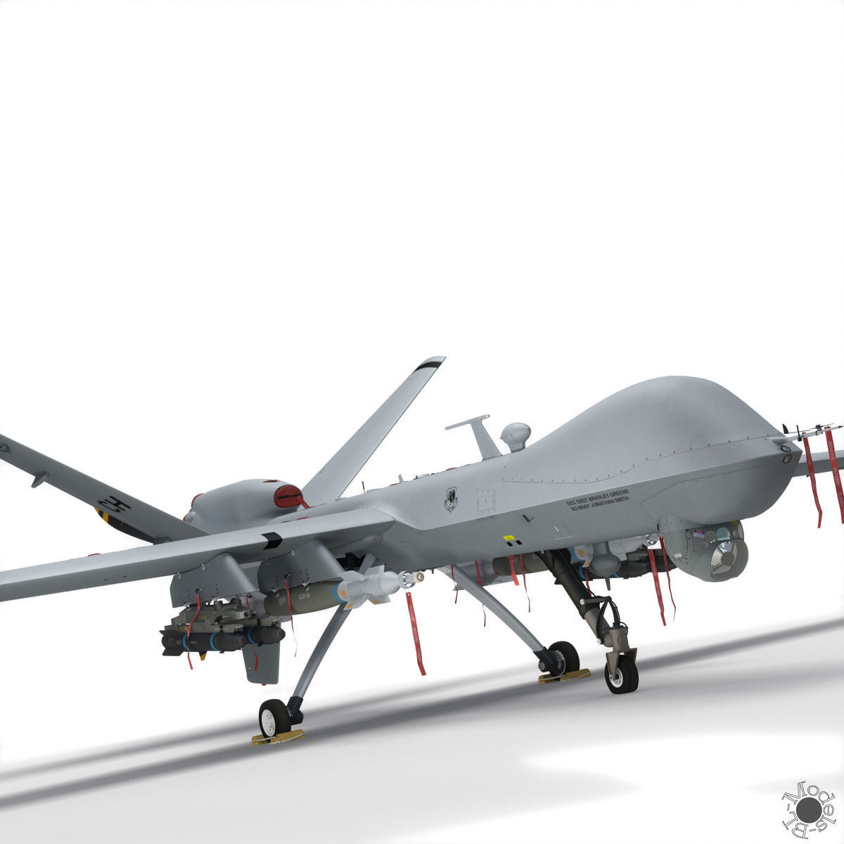 MQ9 Reaper Military Aircraft Drone 3D Model Rigged Max Obj 3ds