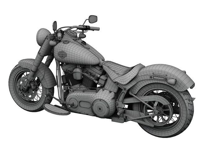 Large Harley Davidson Fls Softail Slim D Model Ds Fbx C D Dxf Obj Max D Ceea C A E E A Bc on Harley Davidson Parts Identification