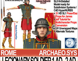 3d model ancient rome legionary soldier 1 ad 2 ad and poser daz props set