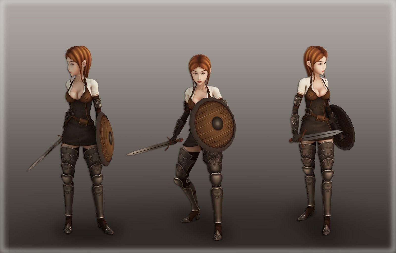 Medieval girl warrior free VR / AR / low-poly 3D Model ...